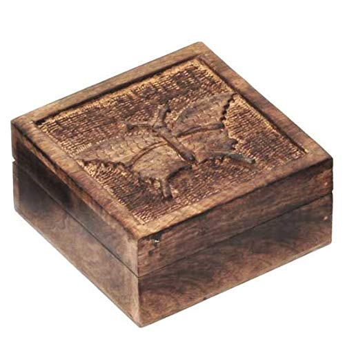 Song of India Mango Wood Carved Butterfly Box (Carved Mango Box Wood)