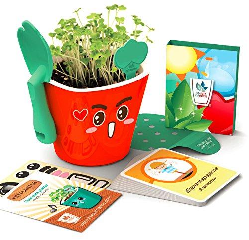 Kit educativo juguete didáctico para niños - Aprendizaje de vocabulario inglés español - Germinación de plantas...