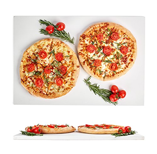 Kenley Large Pizza Stone 20x13.5in - Rectangular Stone for Baking & Cooking Pizzas & Bread in Oven, Grill or BBQ - Flat Ceramic Pan Cooks Pizza Evenly & Gives Crispy Crust