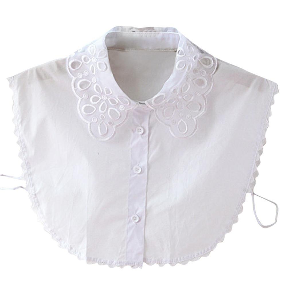 Mamum vestiti delle donne collare falso, le donne plaid nuova camicetta falsa vestiti colletto della camicia colletti staccabili taglia unica ? bianco