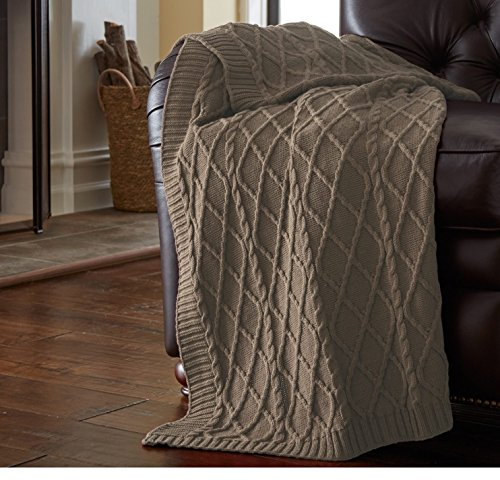 un 1pc 50x70 Oversized Taupe Brown Throw Blanket, Cable Knit Diamond Design Lattice Pattern Lightweight, French Country Classic Large Knits Bordered, Weaved Knitting Cotton