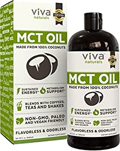 Viva Naturals Non-GMO Pure Coconut MCT Oil (32 fl oz) - Gluten Free, Vegan and Paleo Diet Approved, Naturally Extracted and Sustainably Sourced