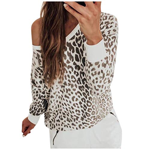 Sanyyanlsy Ladies Fashion Sexy Off-Shoulder O-Neck Leopard Print Sweatshirt Long Sleeve Pullover T-Shirt Tops for Women (Poinsettia Prices)