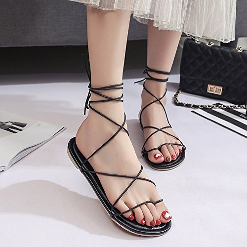 Sandals Amazing Summer Rome Flat Shoes Female Cross Strap Shoes Flat With Holiday Beach (Color : Black, Size : EU36/UK3.5/CN35) Black