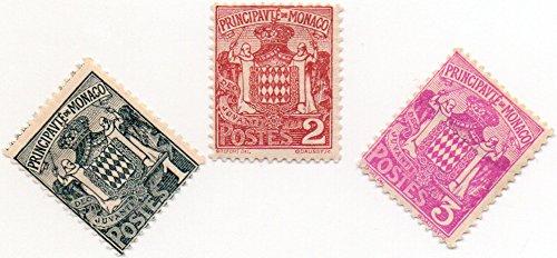 Monaco Postage Stamp Set 1924 Grimaldi Family Coat Of Arms Issue Scott # 60-62