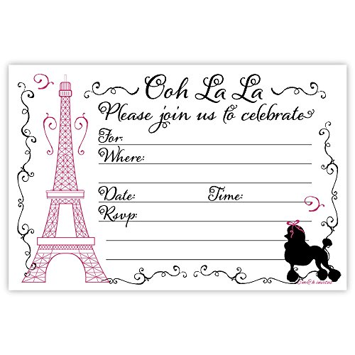Paris Party Invitations (20 Count) With Envelopes -