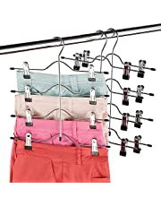 ZOBER Space Saving 4 Tier Trouser Skirt Hanger Sturdy Luxurious Chrome with Non Slip Black Vinyl Clips, Multi Pants Hanger for Skirts, Pants, Slacks, Jeans, and More.