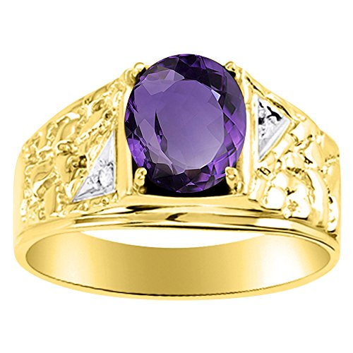Diamond & Amethyst Ring Sterling Silver or Yellow Gold Plated