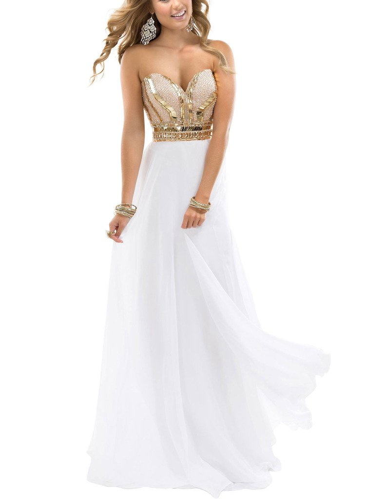 Dressytailor A-line Sweetheart Gold Sparkle Long Chiffon Prom Evening Gown by Dressytailor