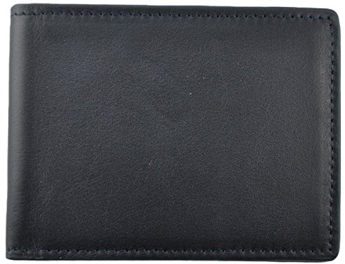 Royce Leather Men's 100 Step Slim Bifold Wallet Leather, Rfid Blocking Technology, Blue by Royce Leather