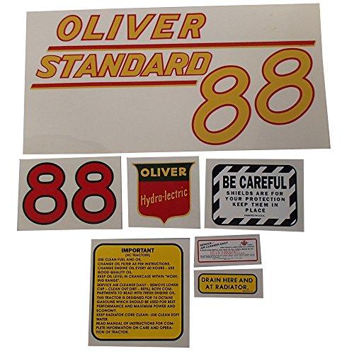 DEC370 New White/Oliver Tractor Standard Mylar Decal Set 88