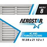 Aerostar 16 3/8x21 1/2x1 MERV 8 Air Filter, Made in the USA, Pleated, White (Pack of 6)