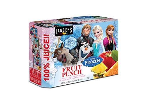 Langers Disney Frozen Fruit Punch 100% Juice Pouches, - Frozen Juice