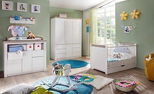 Dreams4Home Babyzimmer Set 'Laura A', Babyzimmerkombination,Babyzimmer komplett,Babybett,Wickelkommode,Kleiderschrank,Pinie Struktur weiß