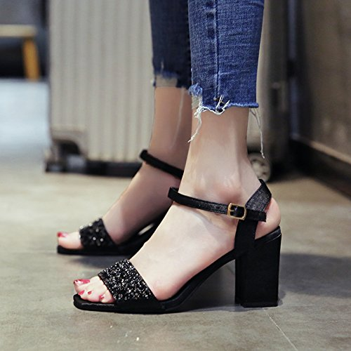 de de YMFIE Dama Moda Sandalias EU pies tacón Verano Lentejuelas Tobillo Temperamento EU 38 36 de Zapatos wfqIqS5