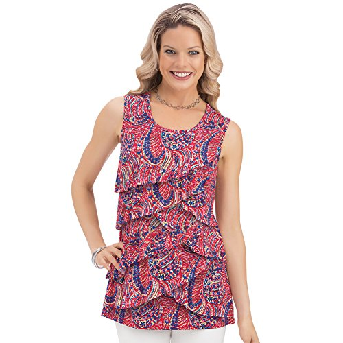 Women's Tiered Print Ruffle Front Sleeveless Wide Strap Scoop Neck Tank Top, Red, Large ()