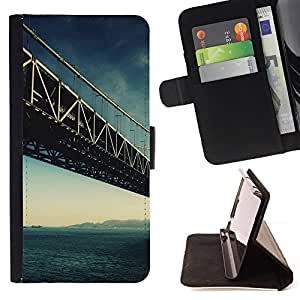 - Architecture San Francisco Bridge - - Monedero PU titular de la tarjeta de cr????dito de cuero cubierta de la caja de la bolsa FOR HTC One M7 RetroCandy
