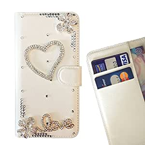 - Heart Love/ Slot Card Flip Case Cover Skin Bling Rhinestone Crystal Leather - Cao - For ZTE V6