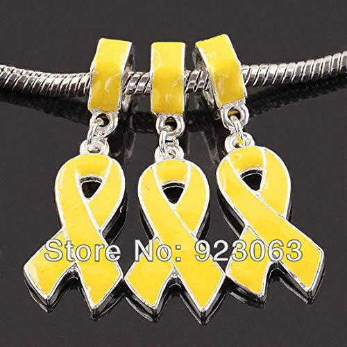 (Calvas 20pcs Yellow Enamel Ribbon Awareness Loose Big Hole Charm Beads Fit European Bracelet,DIY Jewelry Accessories)
