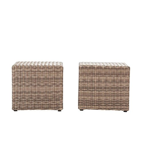 Home Decorators Collection FWS50240KL-2PK Naples Grey All-Weather Wicker Patio Coffee/Side Patio Table (Set of 2)