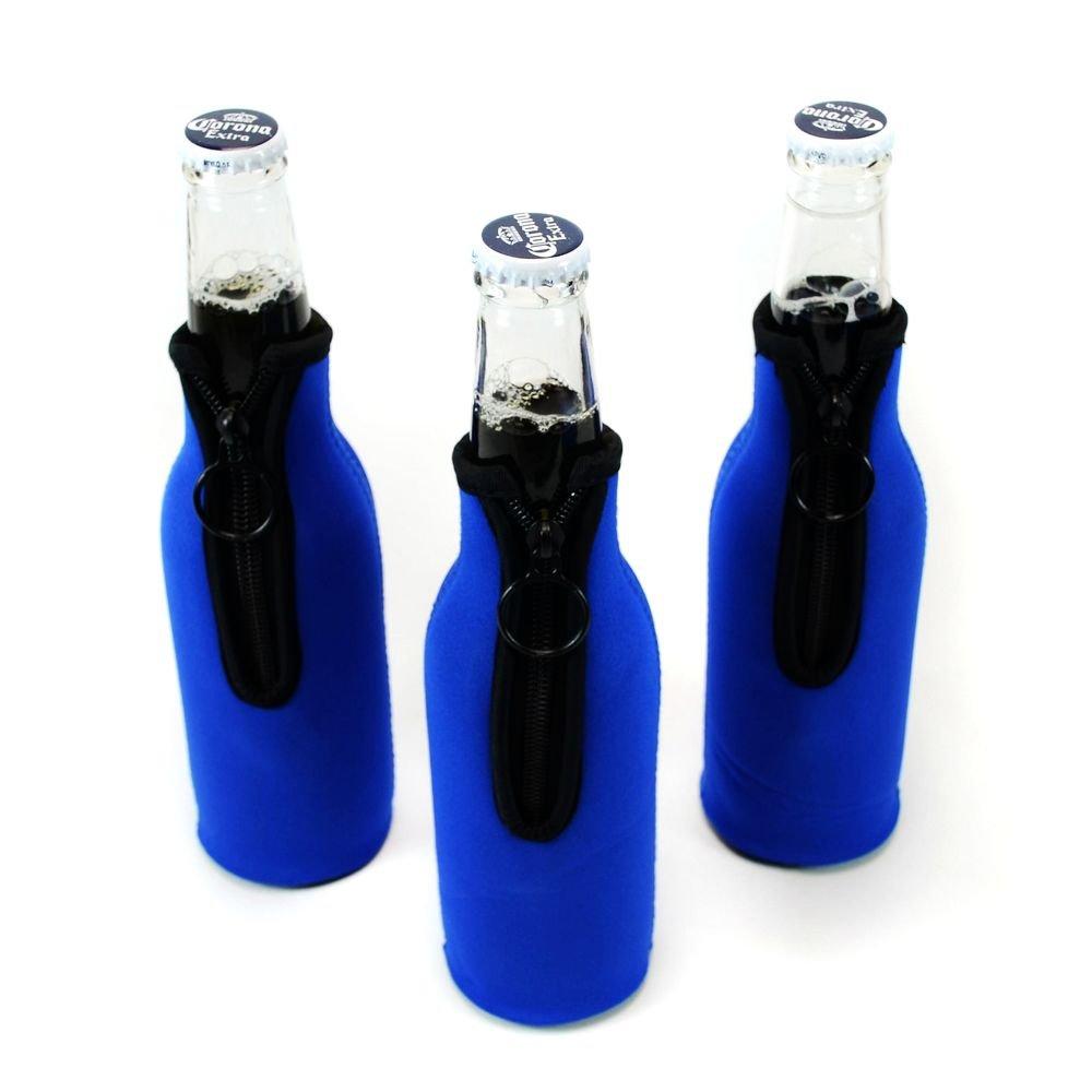 ネオプレンボトルクーラー、ワインクーラーホルダーwith Zipper on Back、ワインガラスCooler, Fits 330 mlボトル。 B07GXTWVDD Blue 3-Pack Blue 3-Pack