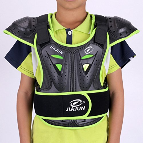 Children's Professional Armor Vest Protective Gear Jackets Guard Shirt For Dirtbike Motocross Skiing Snowboarding Dirt Bike Body Chest Spine Protector Back Motorcycle Support (Green, S)