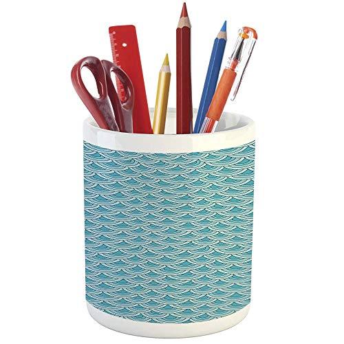 Pencil Pen Holder,Aqua,Printed Ceramic Pencil Pen Holder for Desk Office Accessory,Blue Tones Half Inner Rounds Wave Inspired Retro Image Decorative -