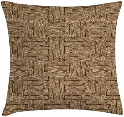 Amazon.com: Ambesonne - Funda de cojín rústica de madera ...