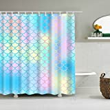 Fish Scale Shower Curtain ColourLife Fish Scale Magic Mermaid Tail Shower Curtains 72 x 72 Inches Bathroom Decor Polyester Fabric Waterproof Mildew Resistant Bath Curtains