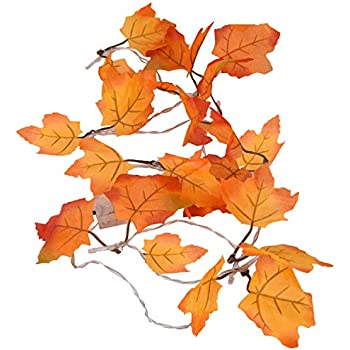 Hotsaleglobal Thanksgiving Decorations Maple Leaf Lighted Fall Garland Battery Operated String Lights 10 LEDs 5.5ft