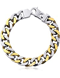 Stainless Steel Bracelets for Men Cuban Curb Link Chain Bracelets Silver 8.6 Inches Silver with Gold 8.5 Inches