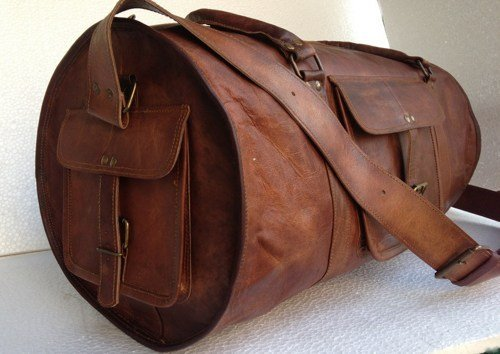 Komal's Passion Leather 24 Inch Duffel Travel Gym Sports Overnight Weekend Leather...