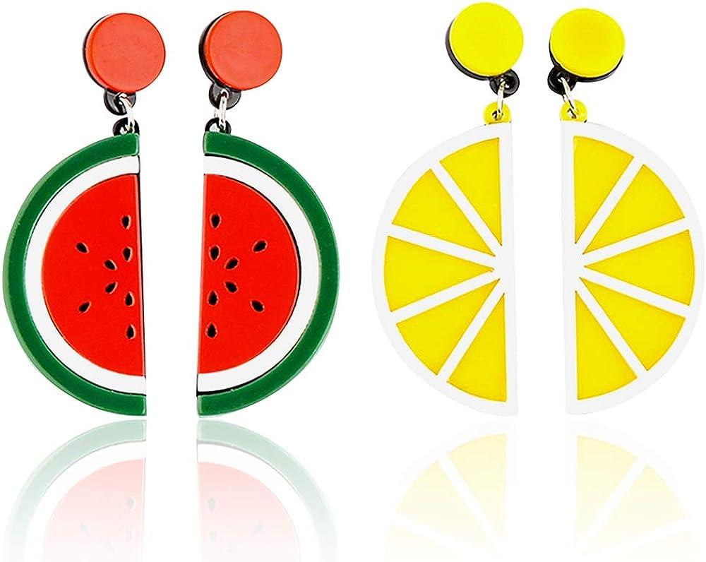 Cute watermelon Earrings Fruit Acrylic Exaggeration Personality Big Drop Dangle Stud Earrings for Women's Girls 2 pairs