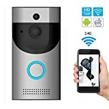 WIFI Video Doorbell, IP65 Waterproof Smart Doorbell 720P 2.4G Wifi Security Camera with Cloud Storage, Night Vision and Two-Way Audio, PIR Motion Detection and App Control for IOS and Android