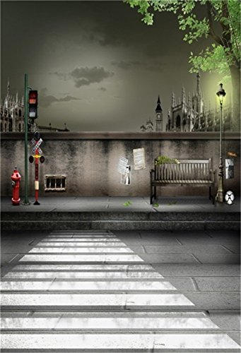 - AOFOTO 6x8ft Artistic Background Photography Backdrops Night London Streetscape Wall Bench Road Lamp Traffic Lights Zebra Crossing Boy Adult Portrait Scene City Studio Props Video Girl Photo Shoot