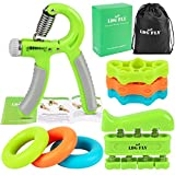 Cheap LDGFLY Hand Grip Strengthener Kit with Finger Exerciser, Finger Stretchers, Adjustable Hand Gripper and Exercise Rings. Strength Trainer for Athletes, Pianists, Guitar and Therapy.