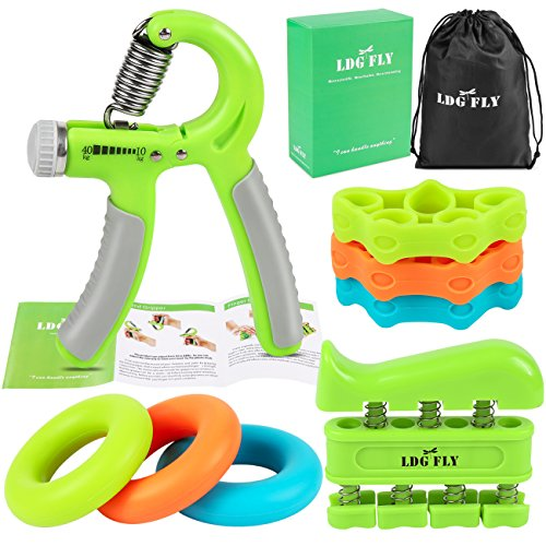 Hand Trainer Kit (LDGFLY Hand Grip Strengthener Kit with Finger Exerciser, Finger Stretchers, Adjustable Hand Gripper and Exercise Rings. Strength Trainer for Athletes, Pianists, Guitar and Therapy.)