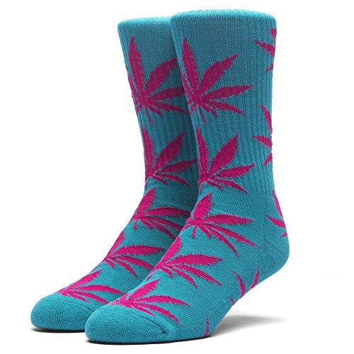 HUF Men's Plantlife Crew Sock, Teal/Magenta, - Street Shops Newbury High