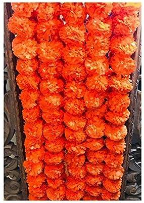 5 Pack Artificial Dark Orange Marigold Flower Garlands 5 Ft