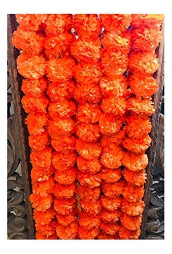 (5 pack Artificial Dark Orange Marigold flower garlands 5 ft long- for use in parties, celebrations, Indian weddings, Indian themed event, decorations, house warming, photo prop, Diwali, Ganesh Fest)