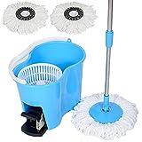 Felji Microfiber Spin Mop Easy Floor Mop w/Bucket w/Pedal & 2 Heads Blue