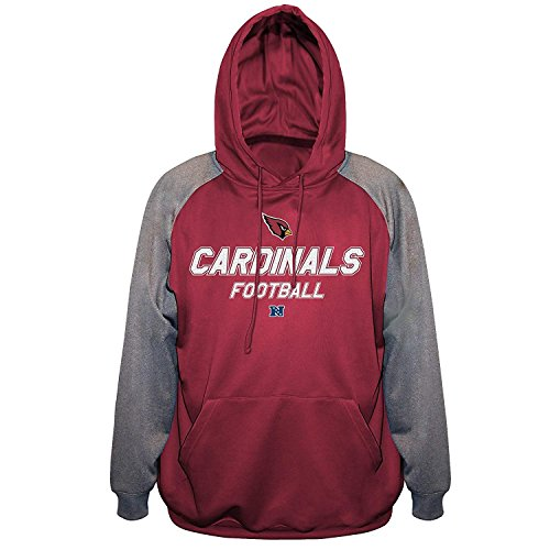 Men's Arizona Cardinals Majestic End Zone Poly Fleece Sweatshirt Hoodie Big and Tall 4XL
