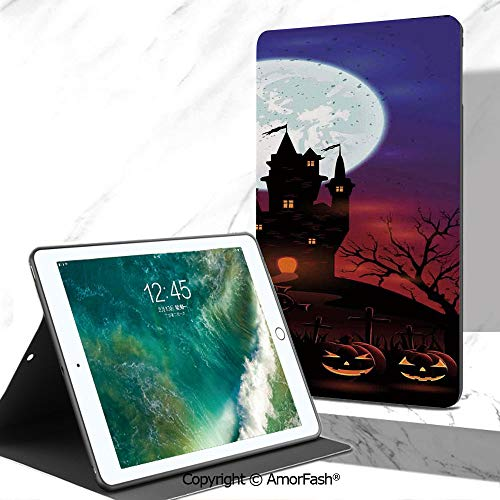 Halloween Decorations Printed Tab A 7 Inch Tablet Case for Samsung Galaxy Tab A SM-T280 / T285 / Samsung Tab A6 A7,Gothic Haunted House Castle Hill Valley Night Sky October Festival Theme -