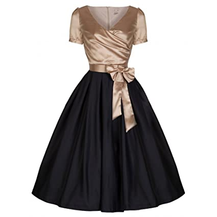Lindy Bop Gina Glamourous Golden & Black 40s 50s Vintage Tea Party Dress at Amazon Womens Clothing store: