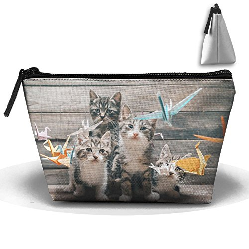 Portable Travel Cute Cat Likes Crane Origami Storage Pouch Cosmetic Toiletry Bags Organizer Travel Accessories