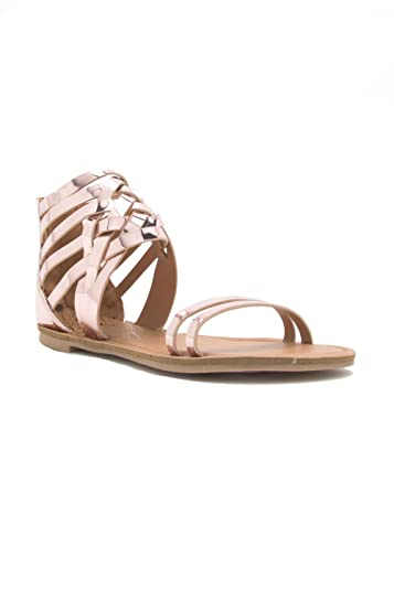 Womens Casual Ankle Strap Cage Strappy Flats-Sandal Athena-1206