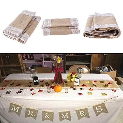 Runner Bag - 1 Roll Table Runners Sack Bags Jute Lace Wedding Christmas Decoration Luxury Burlap Linen Runner 295 - Belt Men Phone Ina For Pack by Unknown (Image #2)