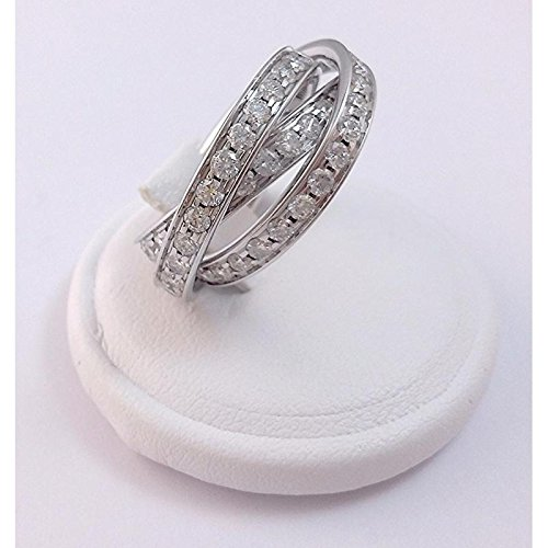 Bague artisanale femme aDP _ 3_ alliances _ Eternity or blanc diamant
