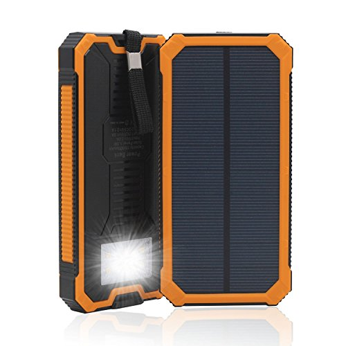 Solar Charger, Solar Power Bank 15000mAh External Backup Battery Pack Dual USB Solar Panel Charger with 2LED Light Carabiner Compass Portable for Emergency Outdoor Camping Travel (Orange 15000)