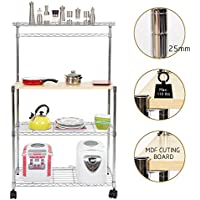 Dporticus 3 Tier Adjustable Kitchen Bakers Rack Kitchen Storage Cart Microwave Stand with Spice Rack Organizer and Cutting Board